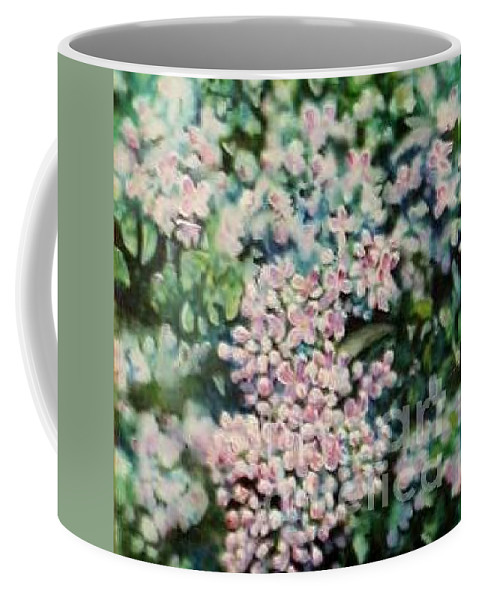 Lilacs Coffee Mug featuring the painting Dwarf Korean Lilac by Karen Sloan