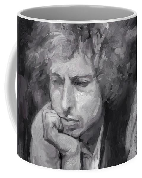 Bob Dylan Music Portrait Musician Rock Coffee Mug featuring the digital art Dylan by Scott Waters