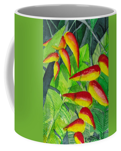 Red Coffee Mug featuring the painting Dynamic Halakonia by Eric Samuelson