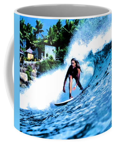 Surf Coffee Mug featuring the digital art E Hosseini by Keith Kos