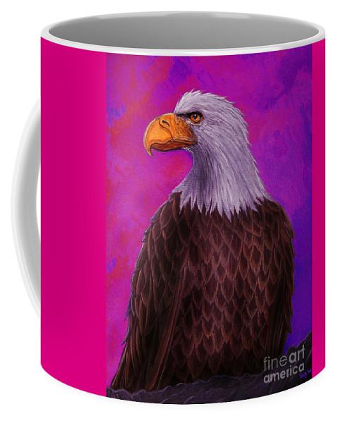 Eagle Coffee Mug featuring the painting Eagle Crimson Skies by Nick Gustafson
