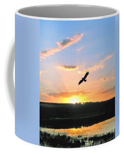 Eagle Coffee Mug featuring the photograph Eagle Flight by Adele Moscaritolo