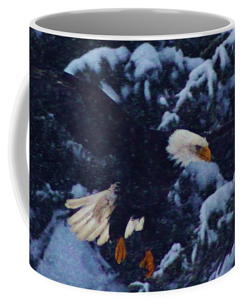 Eagle In The Storm Coffee Mug featuring the photograph Eagle In The Storm by Lori Mahaffey