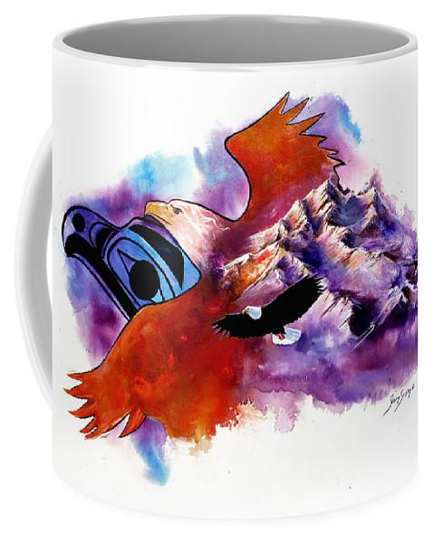 Bird Coffee Mug featuring the painting Eagle Rise by Sherry Shipley