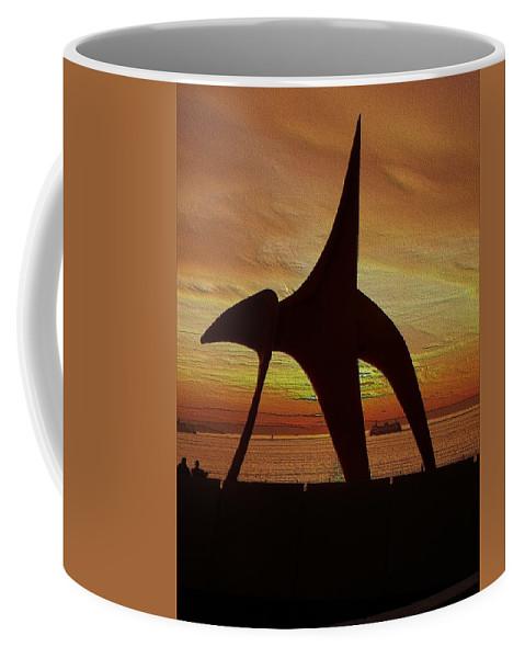 Seattle Coffee Mug featuring the digital art Eagle Sunset Over Elliott Bay by Tim Allen