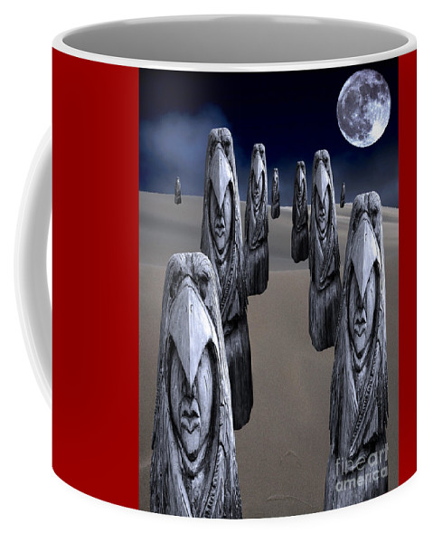 Eagleman Coffee Mug featuring the digital art Eagleman Poles by Keith Dillon