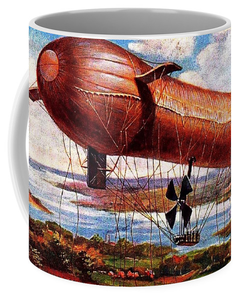 Zeppelin Lithograph Coffee Mug featuring the digital art Early 1900s Military Airship by Peter Gumaer Ogden