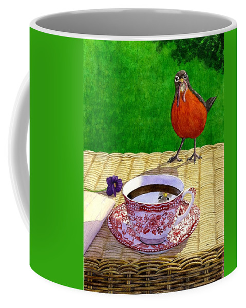 Robin Coffee Mug featuring the painting Early Bird by Catherine G McElroy