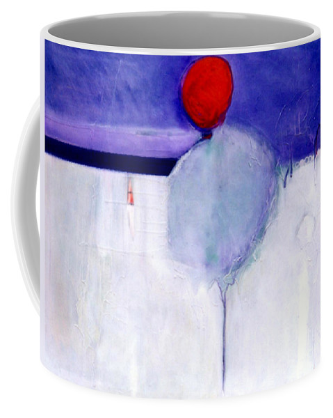 Abstract Coffee Mug featuring the painting Early Blob 1 Optic Illusion by Marlene Burns