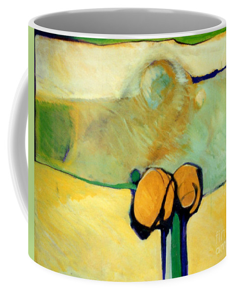 Abstract Coffee Mug featuring the painting Early Blob 2 Jump Rope by Marlene Burns