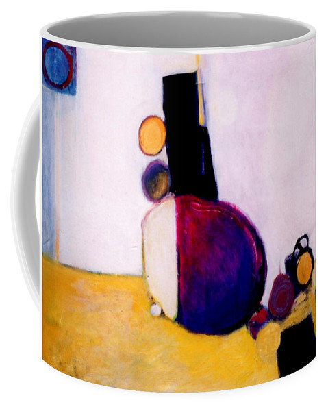 Abstract Coffee Mug featuring the painting Early Blob Having A Ball by Marlene Burns