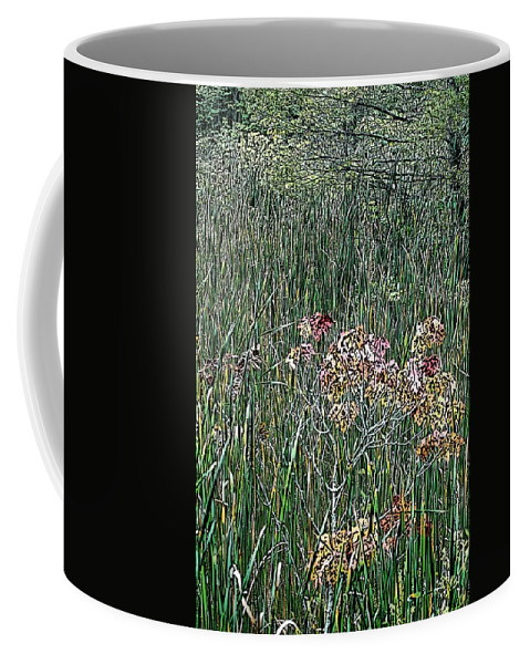 Digital Photograph Coffee Mug featuring the photograph Early Fall Color Woodcut by David Lane