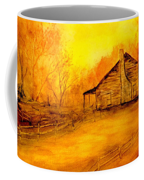 Cabin Coffee Mug featuring the painting Early Kentucky Times by Gail Kirtz