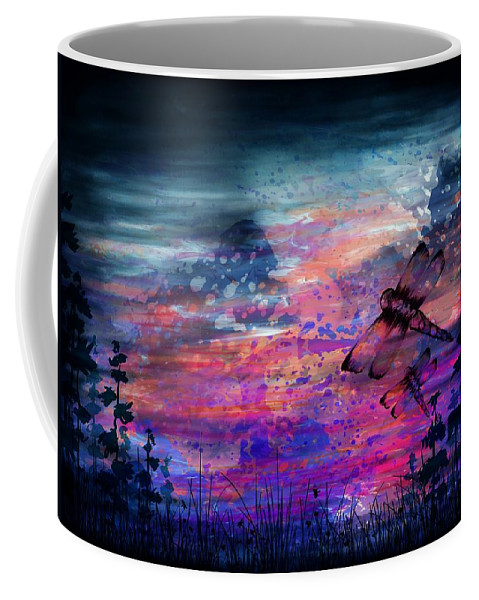 Abstract Coffee Mug featuring the digital art Early Morning Flight by Rachel Christine Nowicki