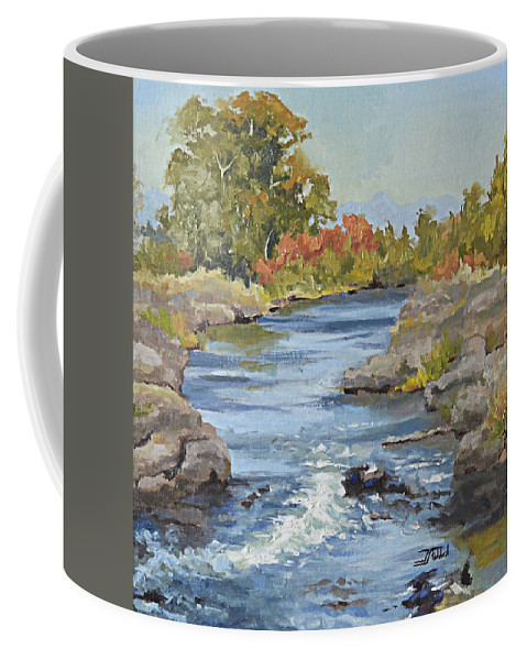 River Coffee Mug featuring the painting Early Morning In Idaho by Jan Christiansen