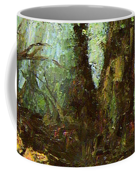 Landscape Coffee Mug featuring the painting Early Morning In The Forest by Ioulia Sotiriou