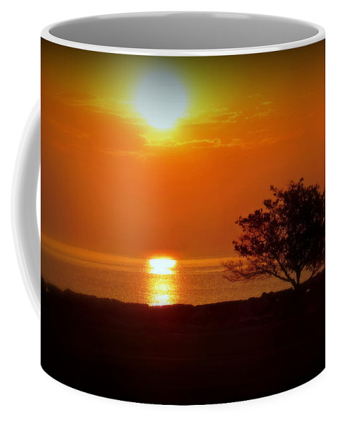 Beach Coffee Mug featuring the photograph Early Morning Sunrise On A Silhouetted Beach by Kay Novy