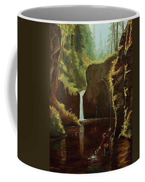 Fishing Coffee Mug featuring the painting Early Morning Trout by Daniel McQuestion