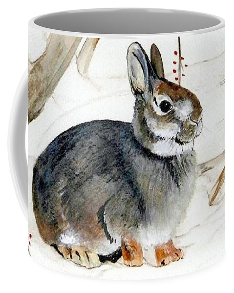 Rabbit Coffee Mug featuring the painting Early Snow by Debra Sandstrom