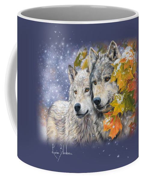 Wolf Coffee Mug featuring the painting Early Snowfall by Lucie Bilodeau