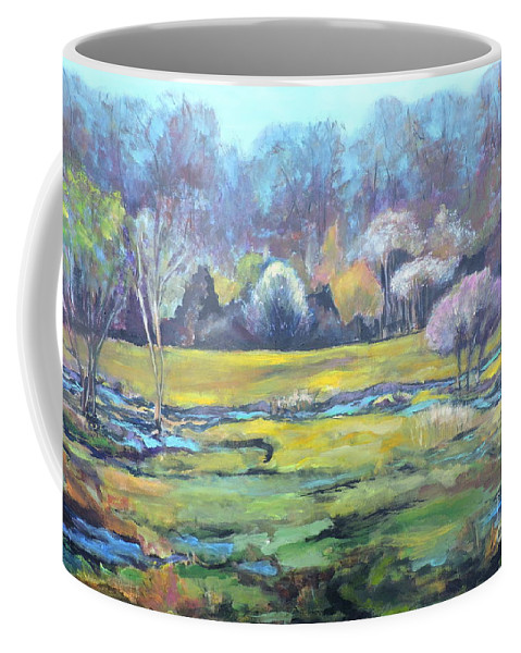 Landscape Coffee Mug featuring the painting Early Wet Spring by Jodie Marie Anne Richardson Traugott     aka jm-ART