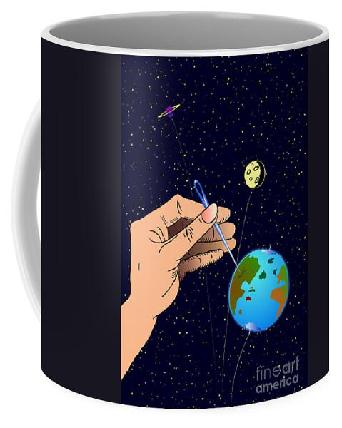 Ironic Coffee Mug featuring the digital art Earth Like An Inflatable Balloon by Michal Boubin