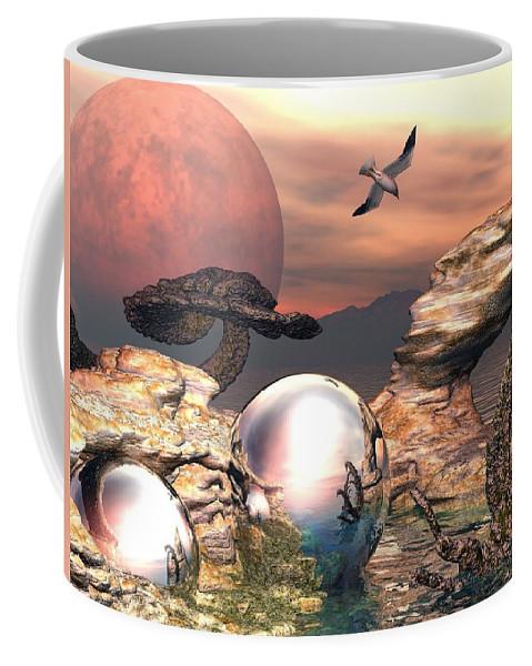 Fantasy Coffee Mug featuring the digital art Earth Pearls by Steve Kelly