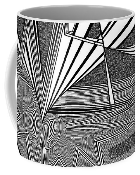 Dynamic Black And White Coffee Mug featuring the painting Earth Stewards by Douglas Christian Larsen