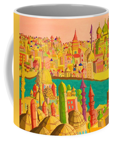 Castles Coffee Mug featuring the painting East And West by Mimi Revencu