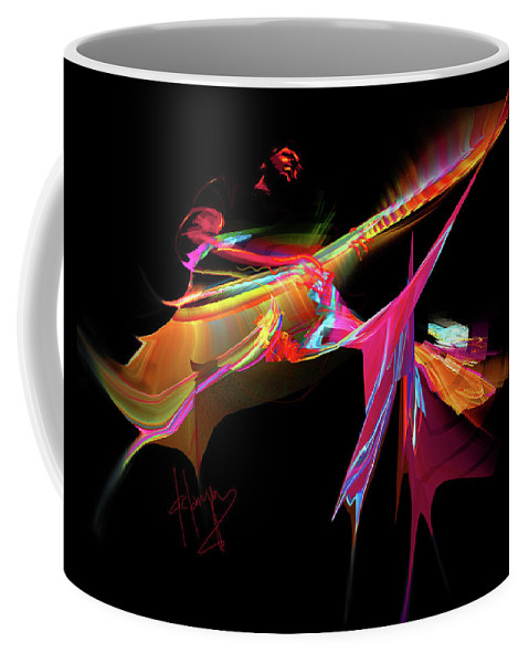 Guitar Coffee Mug featuring the painting East Of The Sun by DC Langer