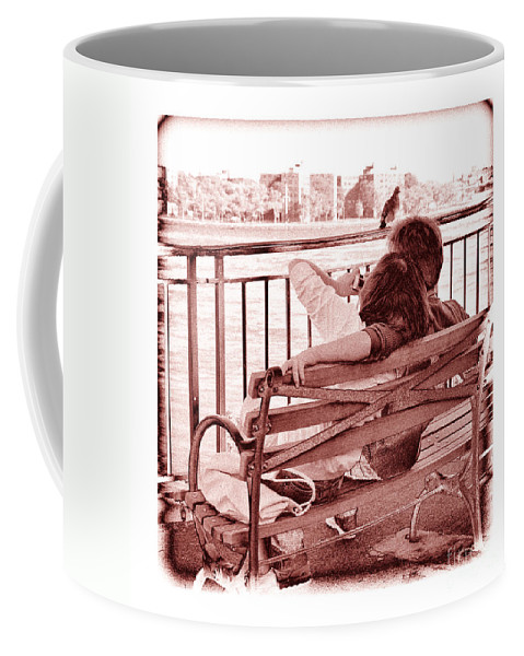 Man Coffee Mug featuring the photograph East River Lovers by Madeline Ellis