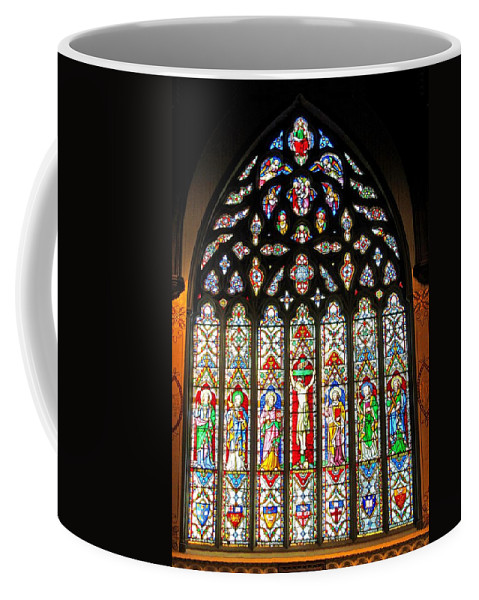 Christ Church Cathedral Fredericton Coffee Mug featuring the photograph East Stained Glass Window Christ Church Cathedral 1 by Mark Sellers