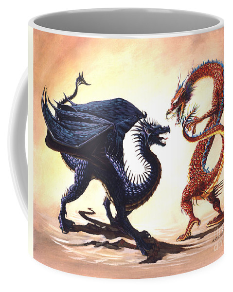 Fantasy Coffee Mug featuring the painting East Vs West by Stanley Morrison