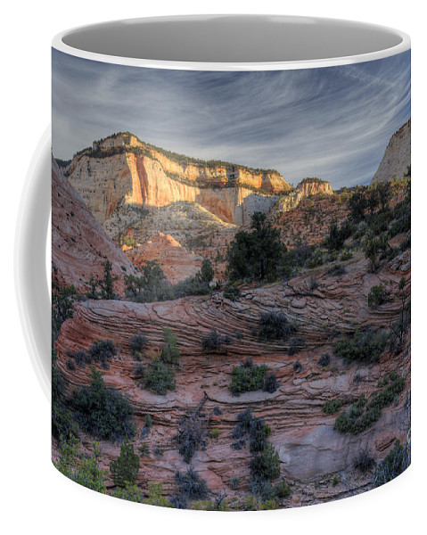 Hdr Coffee Mug featuring the photograph East Zion Canyon Sunrise by Sandra Bronstein