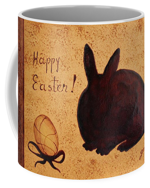 Easter Golden Egg And Bunny Coffee Mug featuring the painting Easter Golden Egg And Chocolate Bunny by Georgeta Blanaru