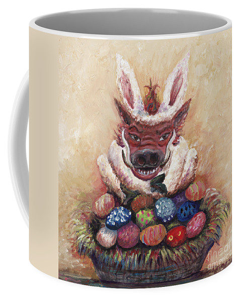 Easter Coffee Mug featuring the painting Easter Hog by Nadine Rippelmeyer