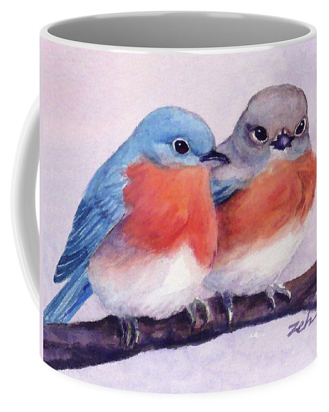 Birds Coffee Mug featuring the painting Eastern Bluebirds by Janet Zeh