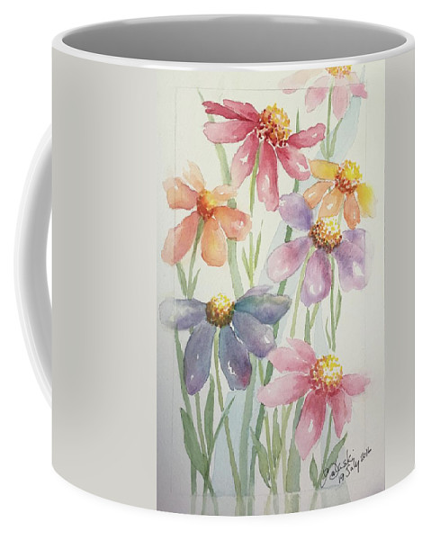 Echinacea Flowers Colourful Petals Raised Pistils Green Soft Leaf Pinks Purples Blues Yellows Golds Delicate Floral Coffee Mug featuring the painting Echinacea Cheyenne Spirit by Belinda Balaski