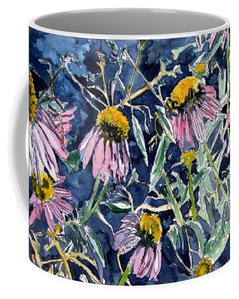 Echinacea Coffee Mug featuring the painting Echinacea Cone Flower Art by Derek Mccrea