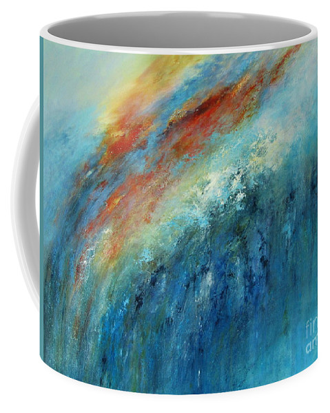 Abstract Coffee Mug featuring the painting Echoes Of Sunset by Valerie Travers