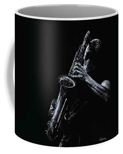 Musician Coffee Mug featuring the pastel Eclectic Sax by Richard Young
