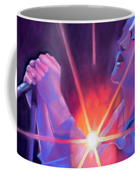 Eddie Veder Coffee Mug featuring the drawing Eddie Vedder And Lights by Joshua Morton