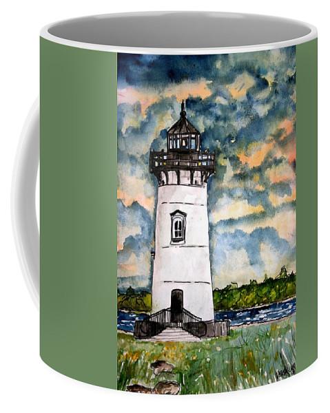 Lighthouse Coffee Mug featuring the painting Edgartown Lighthouse Martha's Vineyard Mass by Derek Mccrea