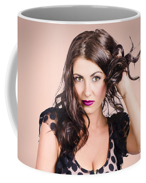 Hair Coffee Mug featuring the photograph Edgy Hair Fashion Model With Brunette Hairstyle by Jorgo Photography - Wall Art Gallery