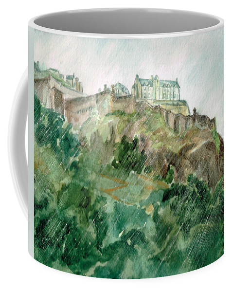 Castle Coffee Mug featuring the painting Edinburgh Castle by Andrew Gillette