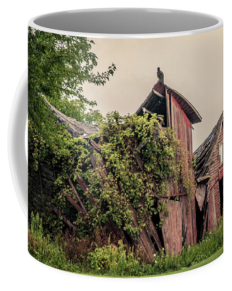 Red Barn Coffee Mug featuring the photograph Eerie Barn by Angela Mocniak