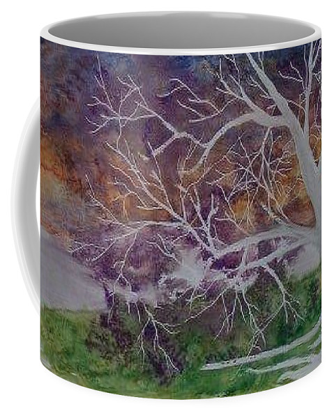 Watercolor Coffee Mug featuring the painting EERIE gothic landscape fine art surreal print by Derek Mccrea