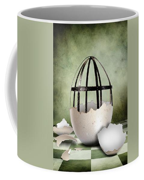 Surreal Coffee Mug featuring the digital art An Egg by Arvydas Butautas