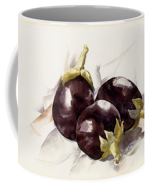 Food Coffee Mug featuring the painting Eggplants. ,charles Demuth by Charles Demuth