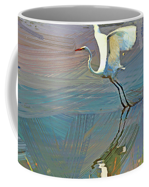 Recent Coffee Mug featuring the photograph Egret Getting Ready For Take Off by Geraldine Scull
